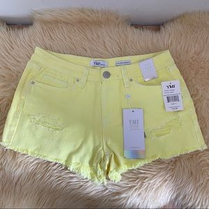NEW YMI Jeans Yellow Distressed Short Shorts Sz 5